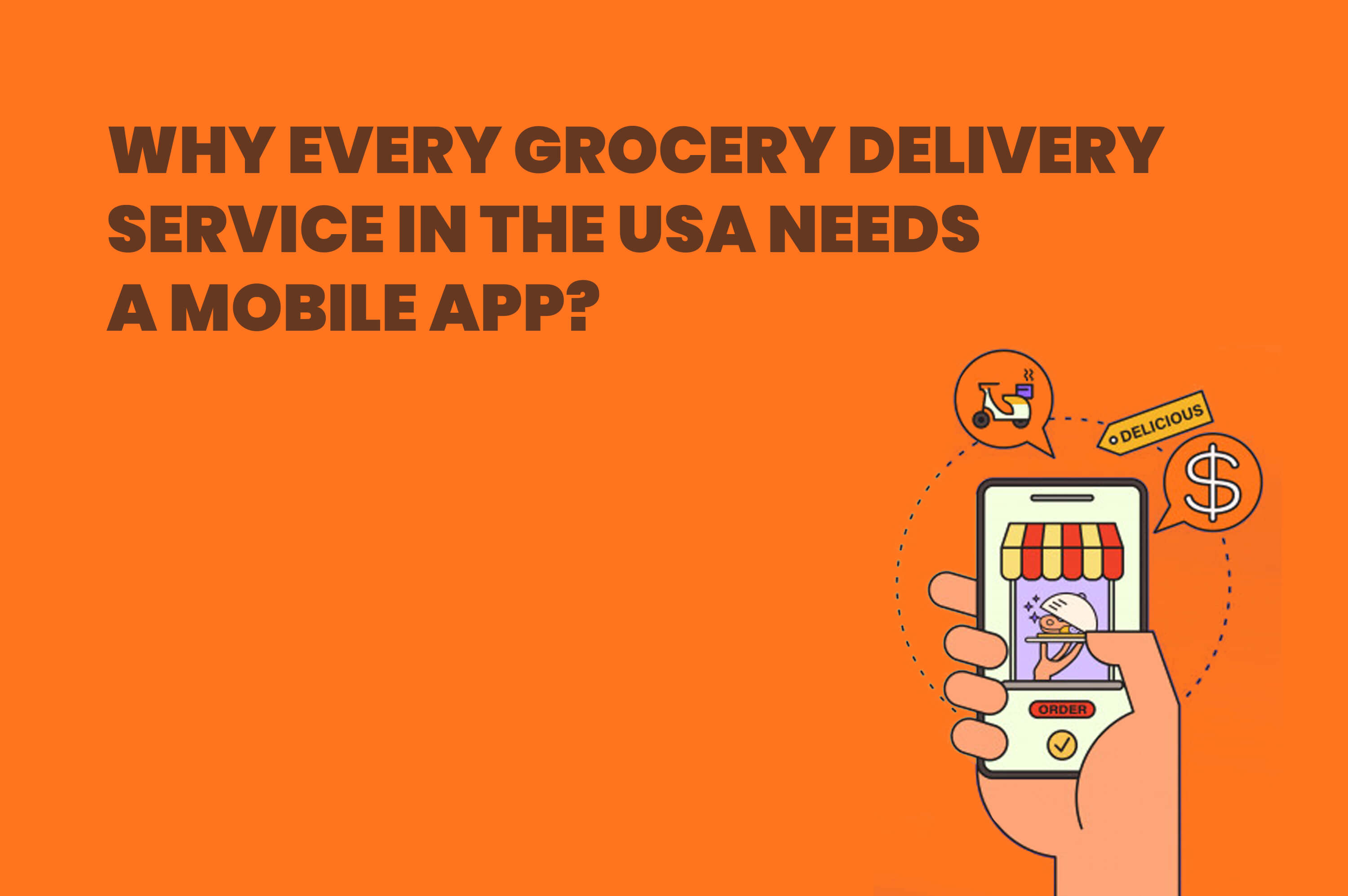 a hand holding smartphone with a grocery delivery app opened