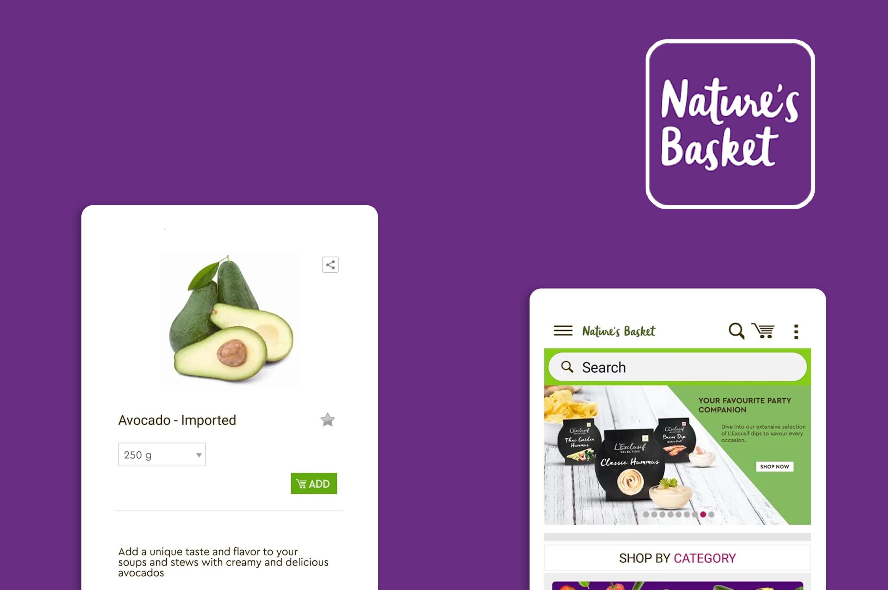 two app screens of nature basket mobile app