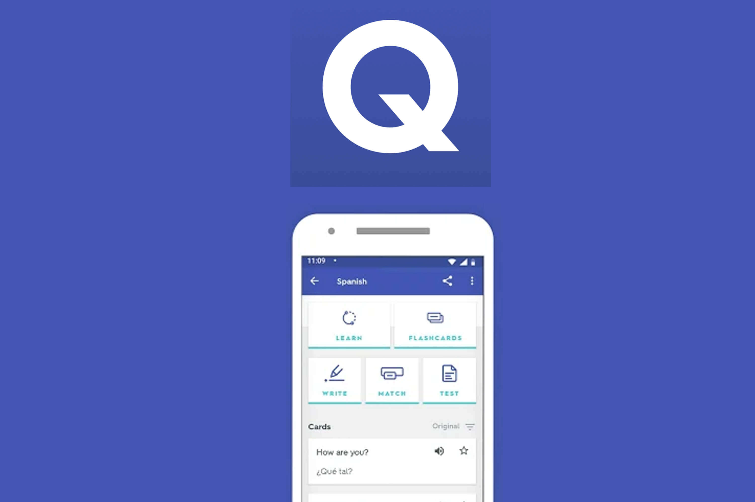 a mobile phone with quizlet app