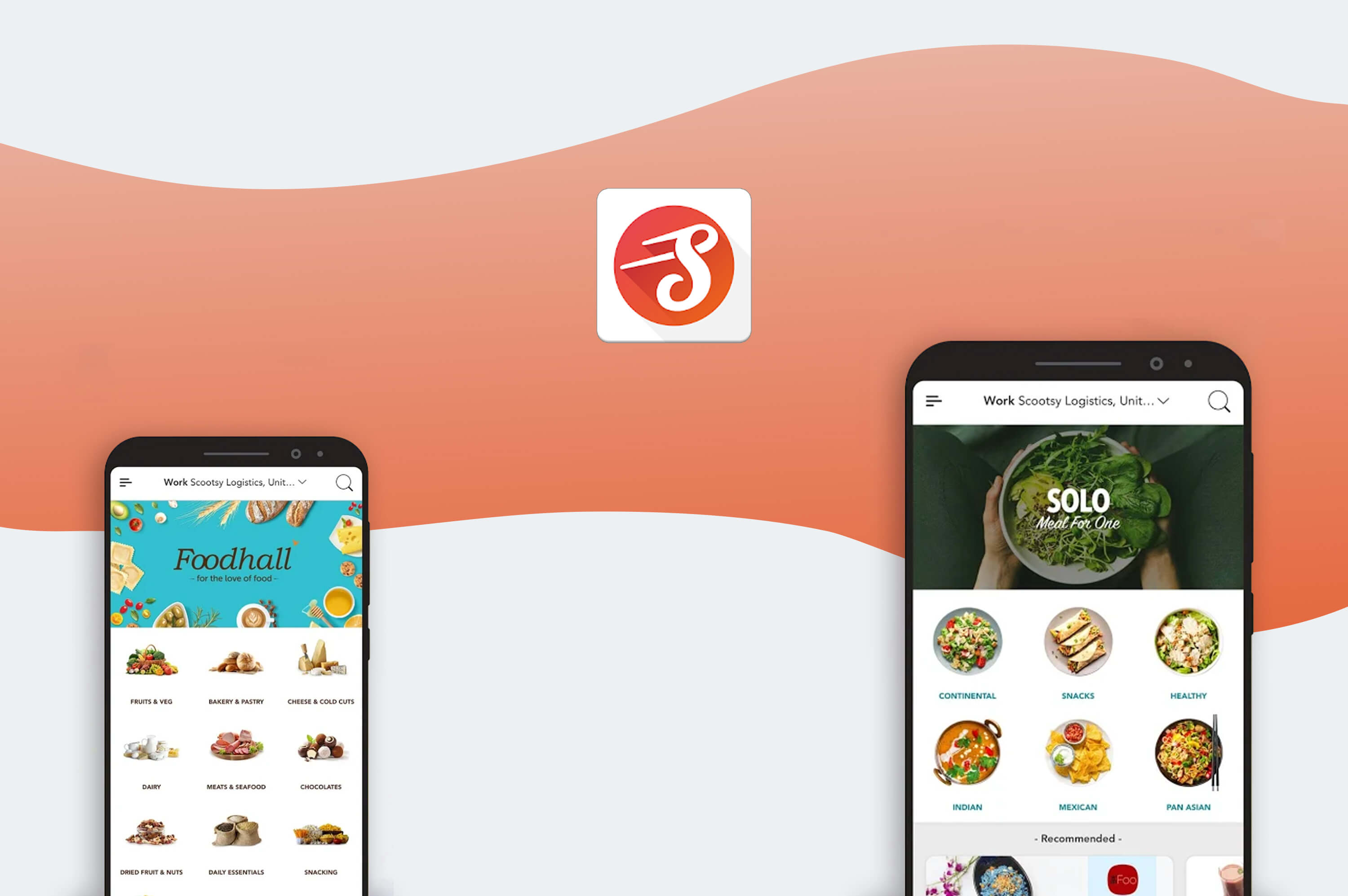 two smartphone with scootsy mobile app opened