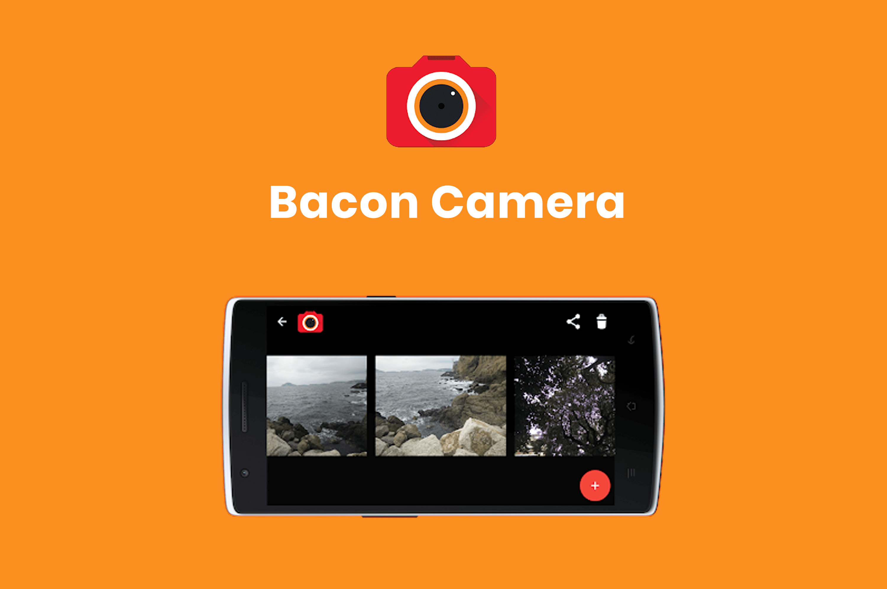 a smartphone with bacon camera  app