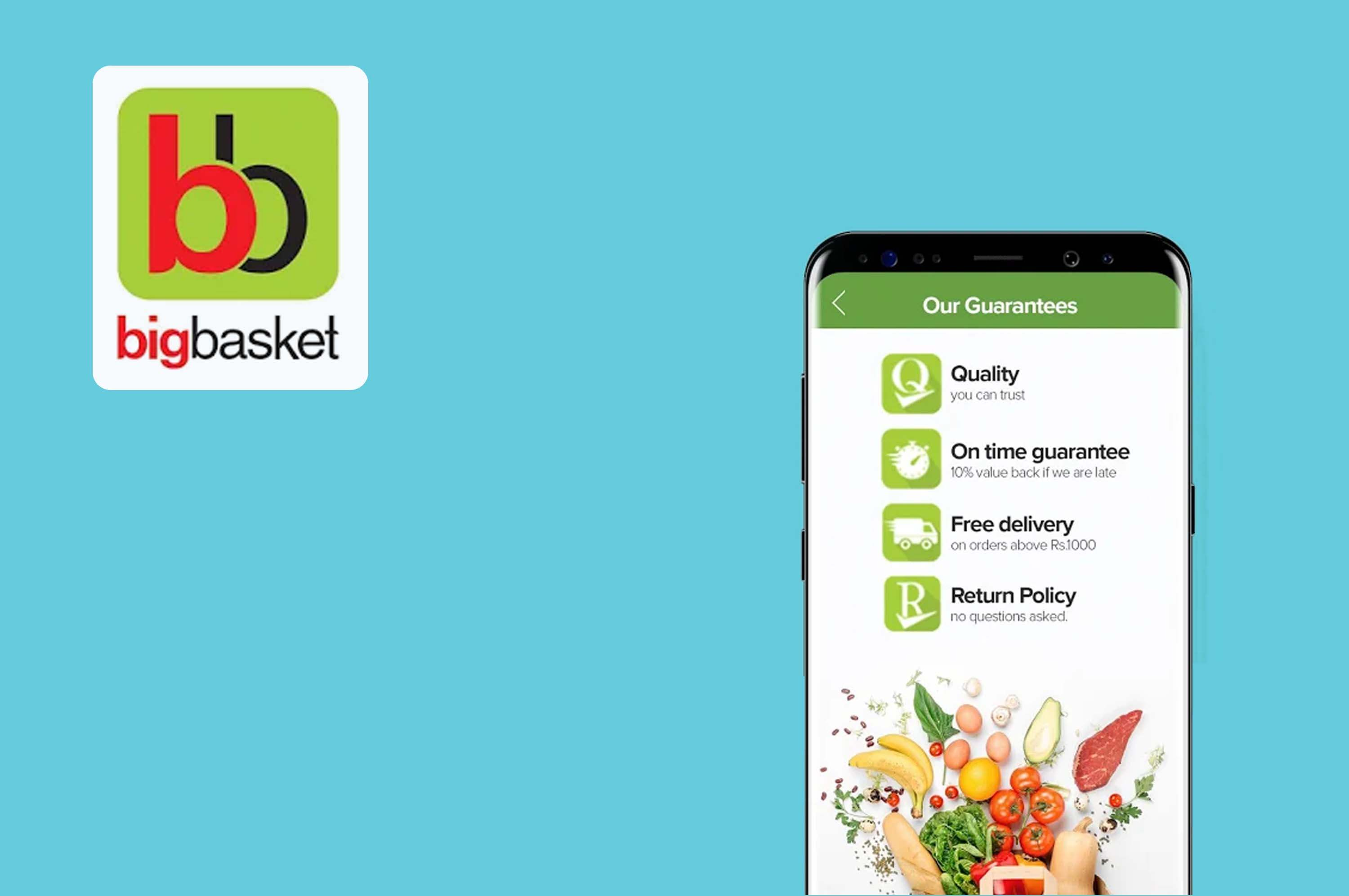 a smartphone with big basket app opened