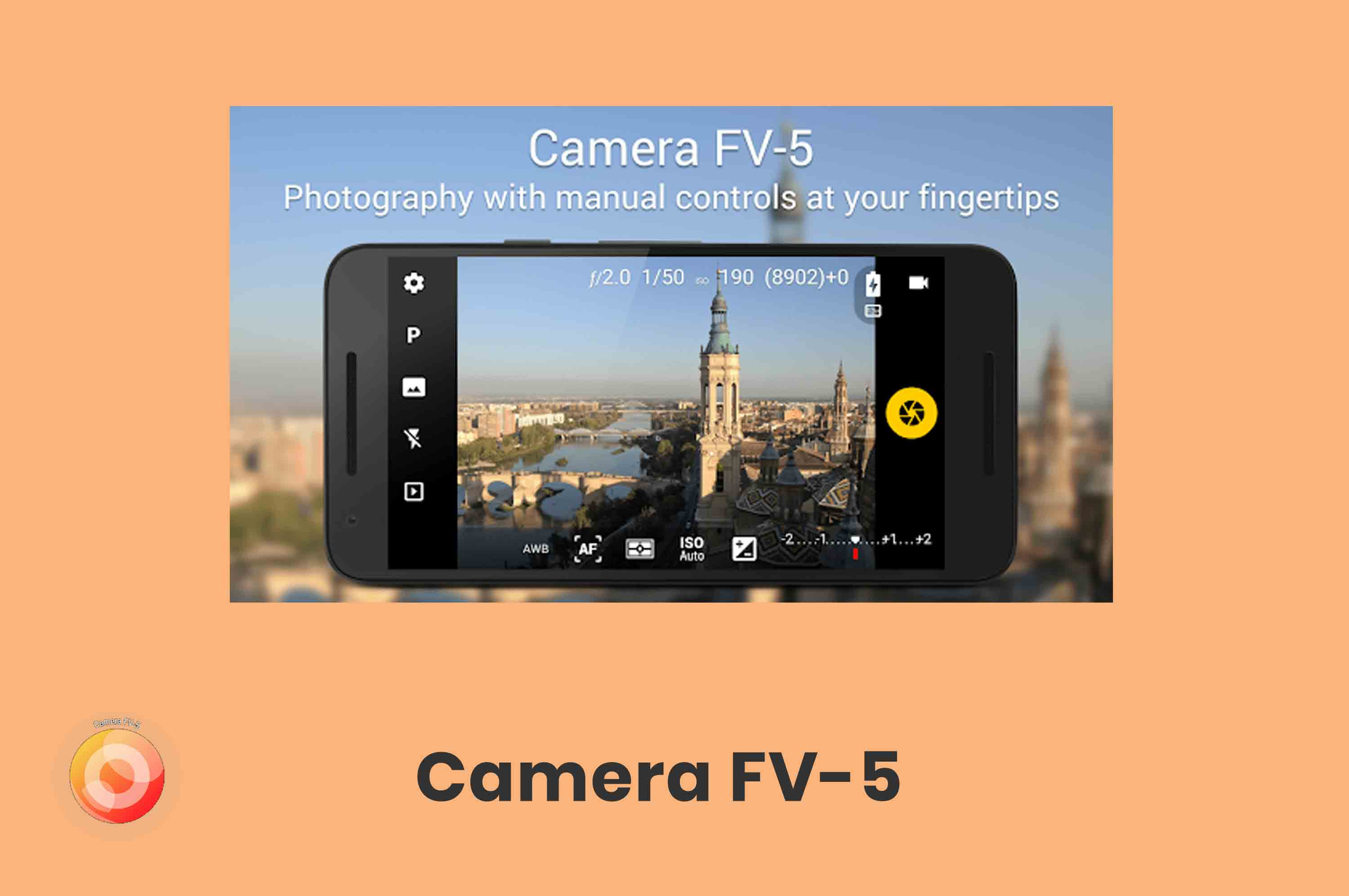 a smartphone with camera fv-5 app capturing image of a building