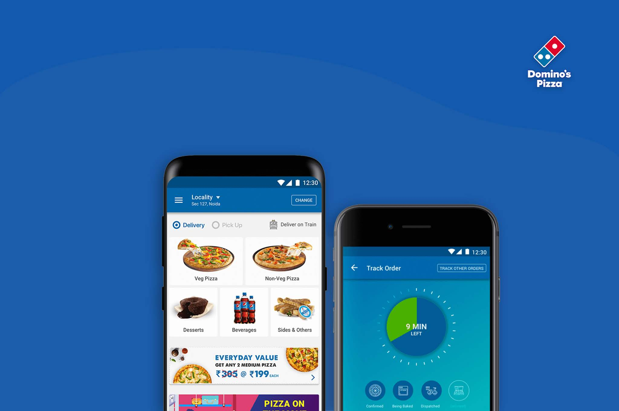 two smartphones opened domino's food delivery app