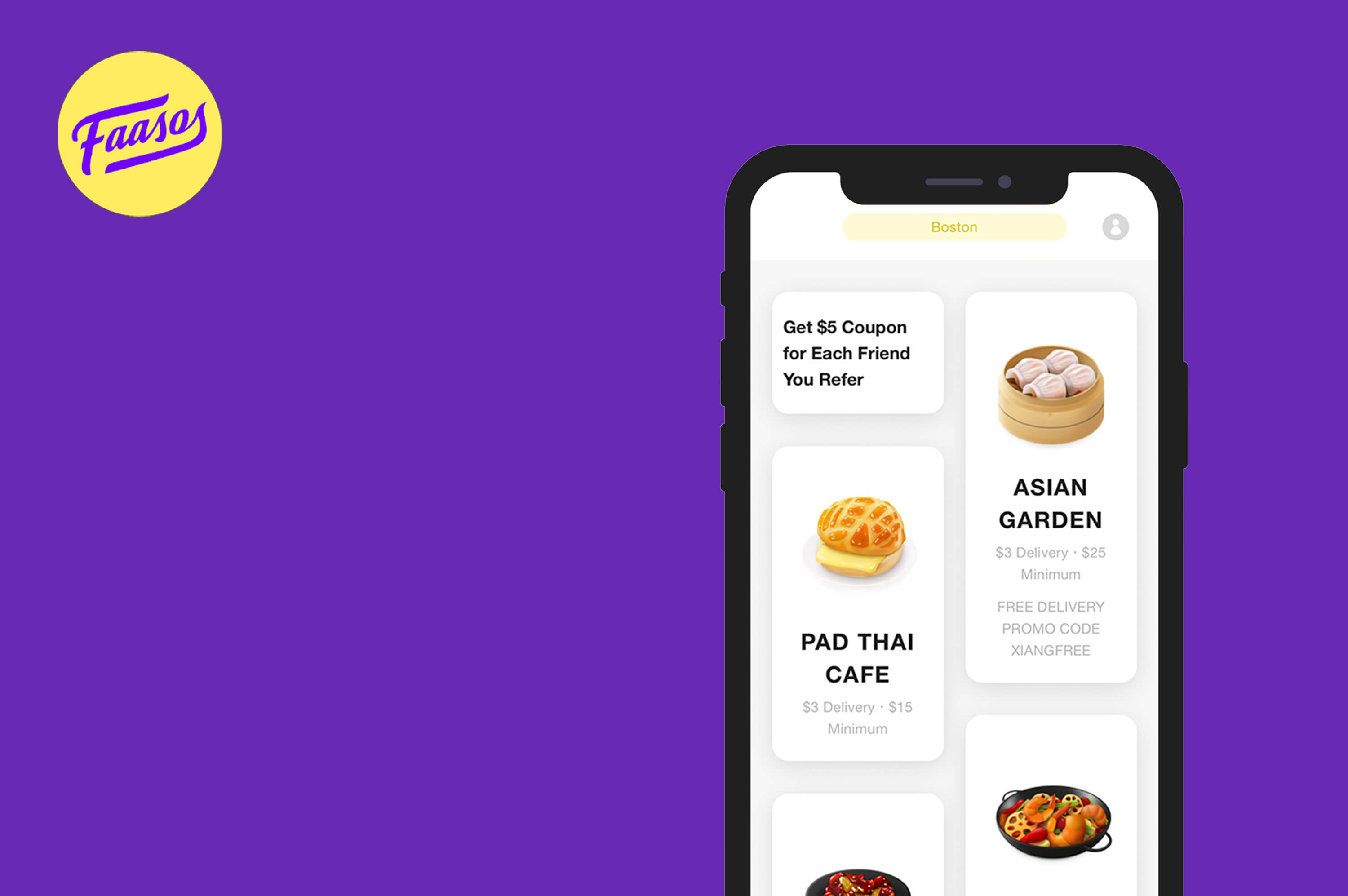 a smartphone with faasos app is opened