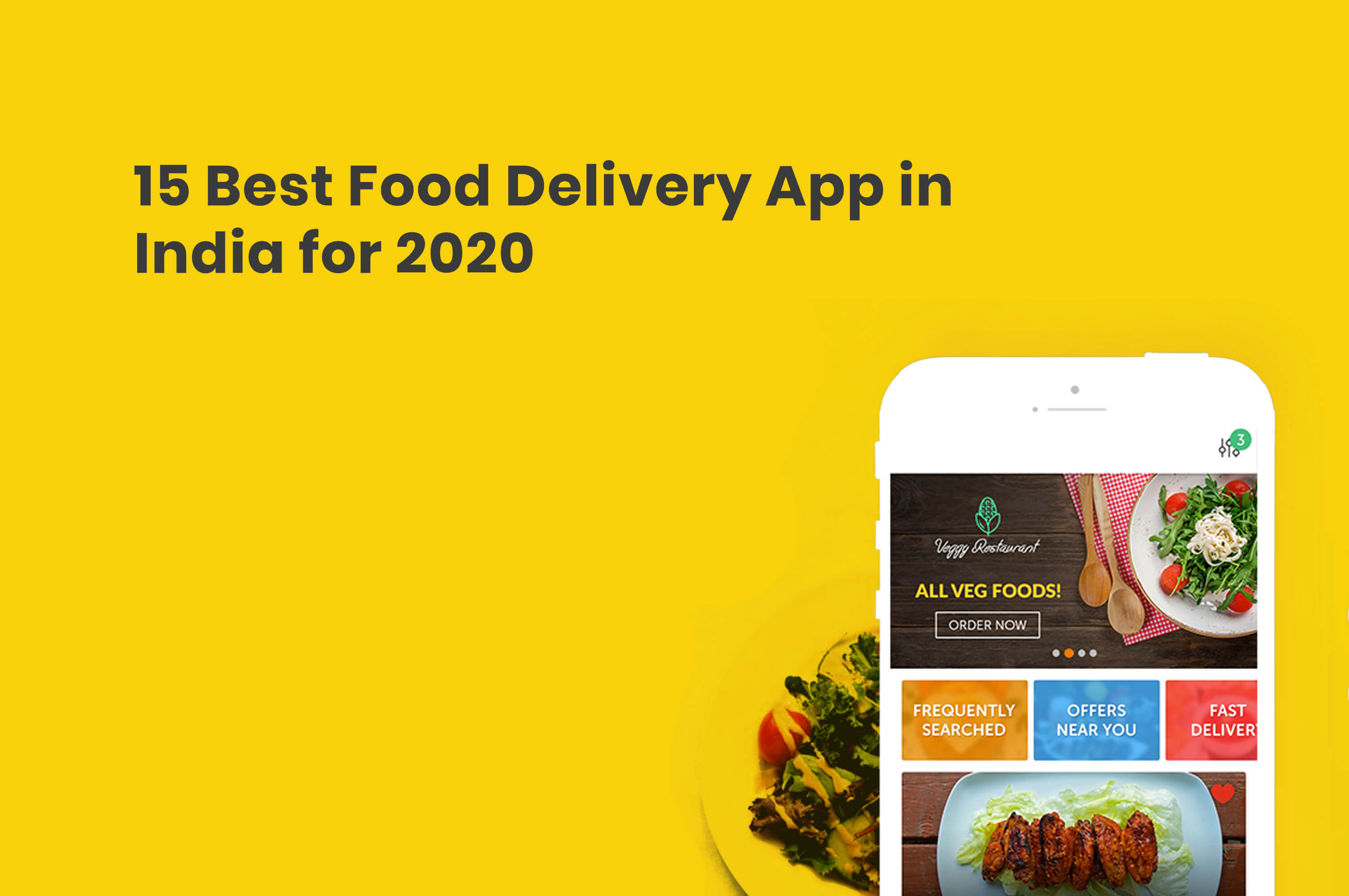 a smartphone which is opened food delivery ap