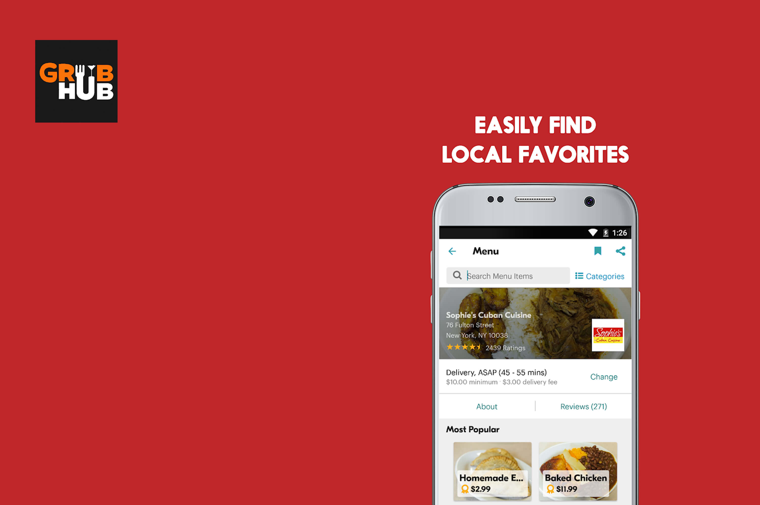 a smartphone with grubhub app opened