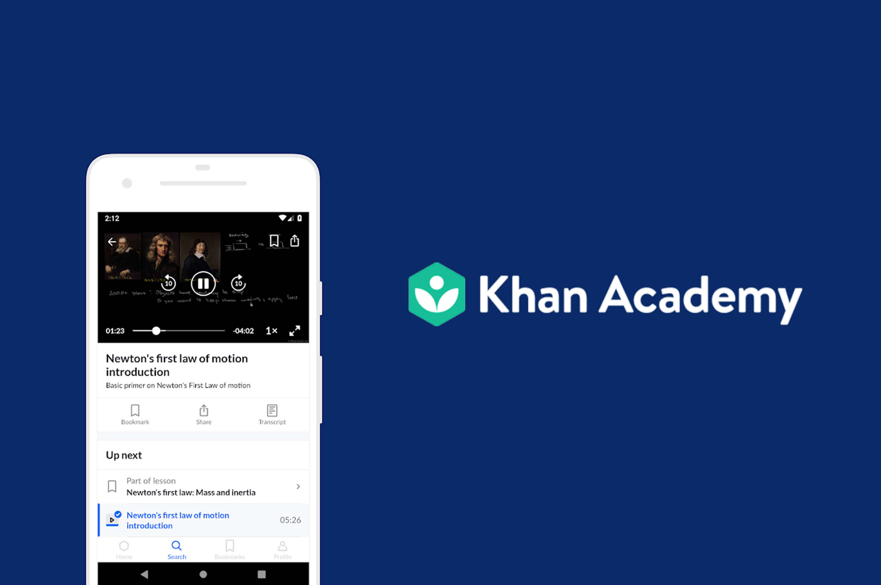 a mobile phone with khan academy app
