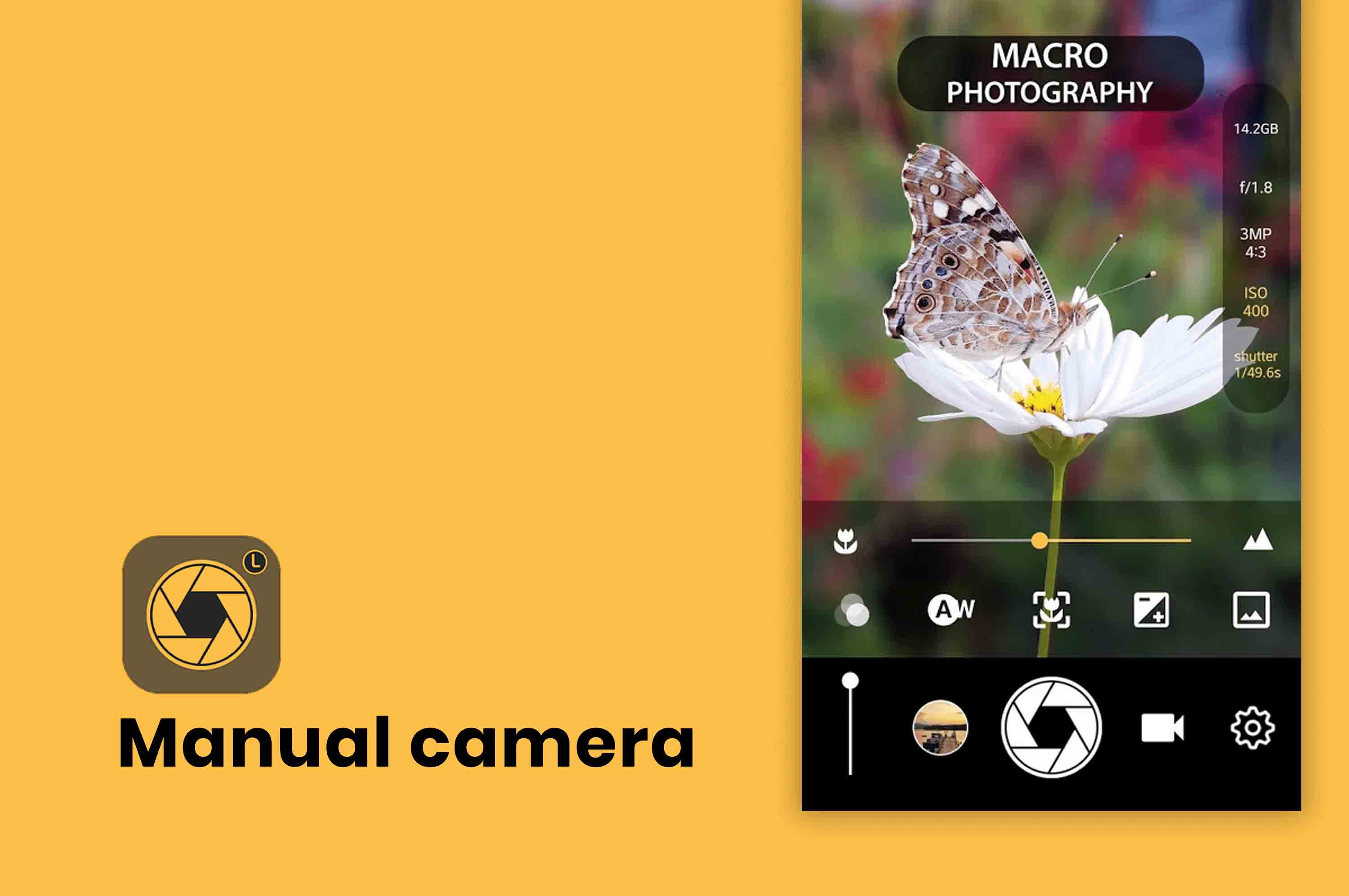app screen of manual camera app