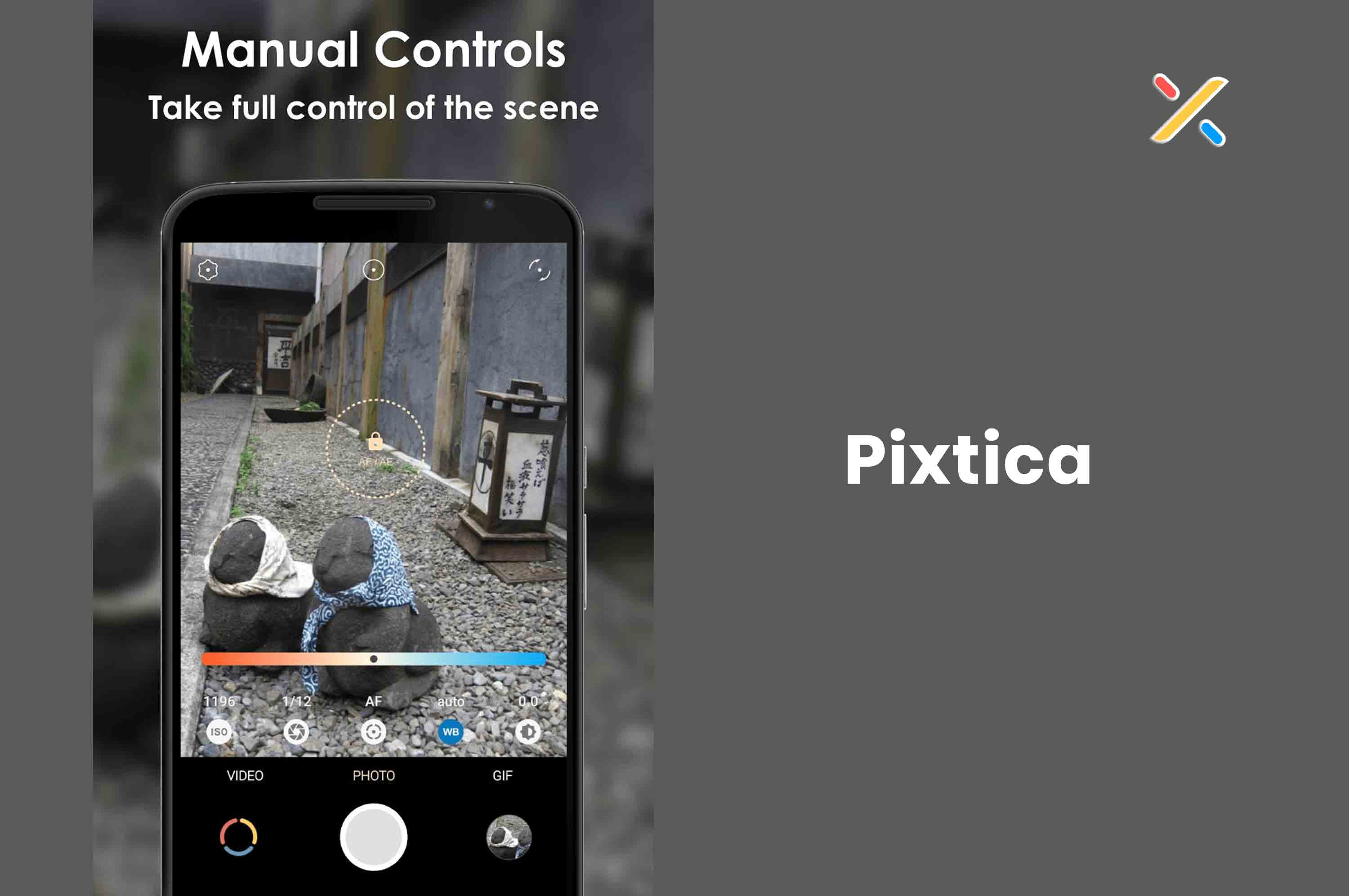 a smartphone with pixtica app and capturing image