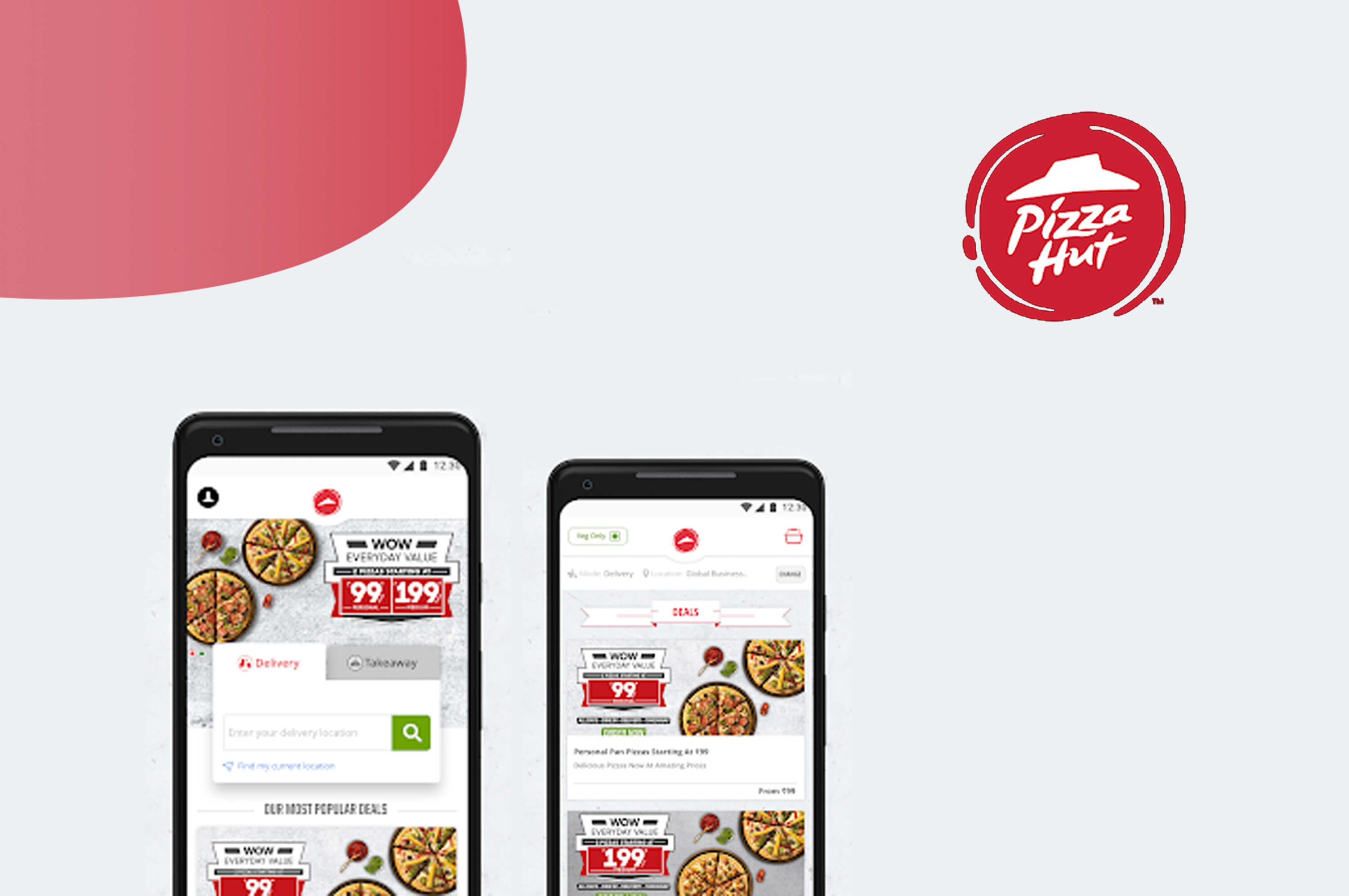 two smartphone's with pizza hut mobile app