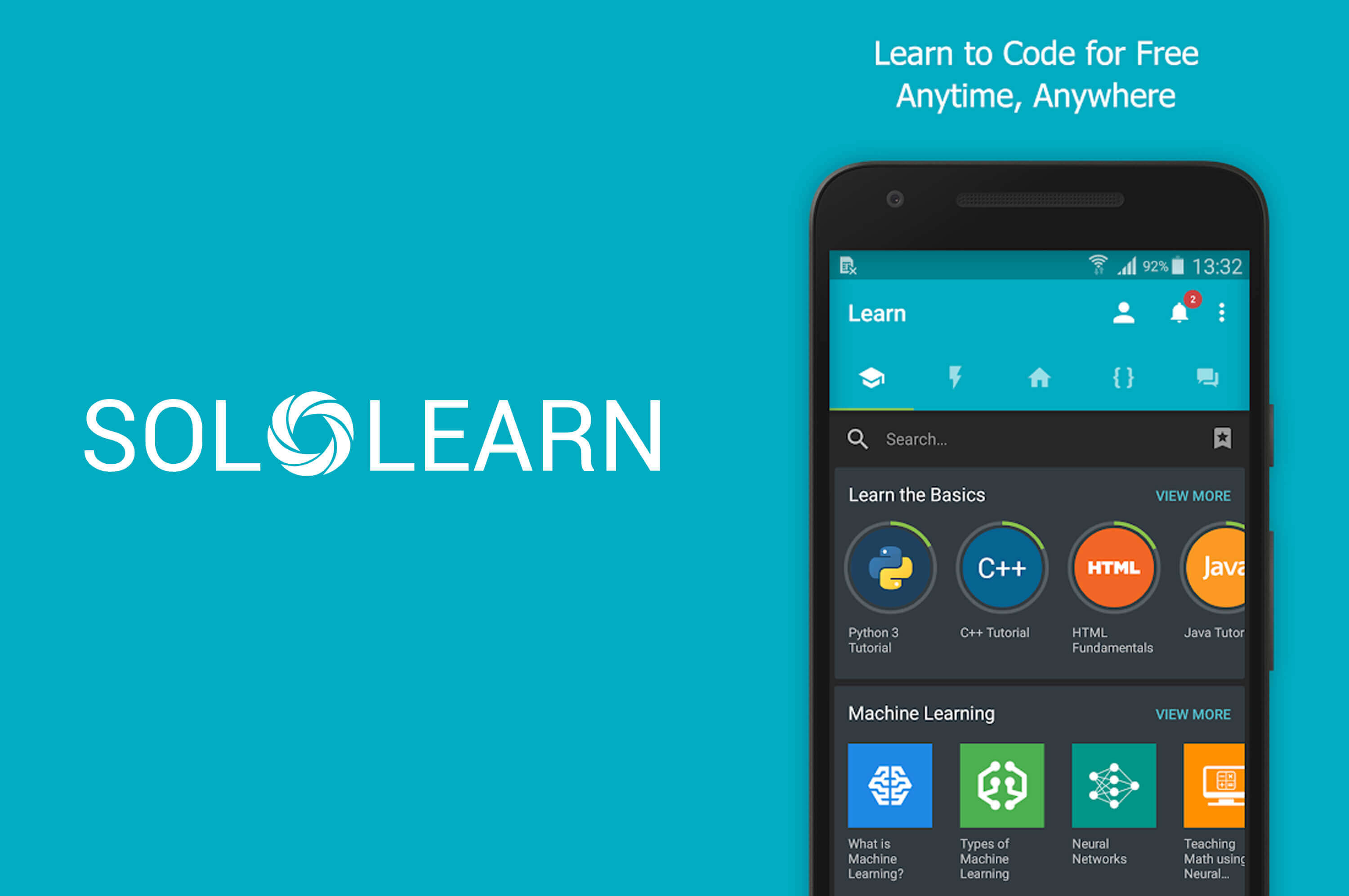 a smartphone with solo learn app