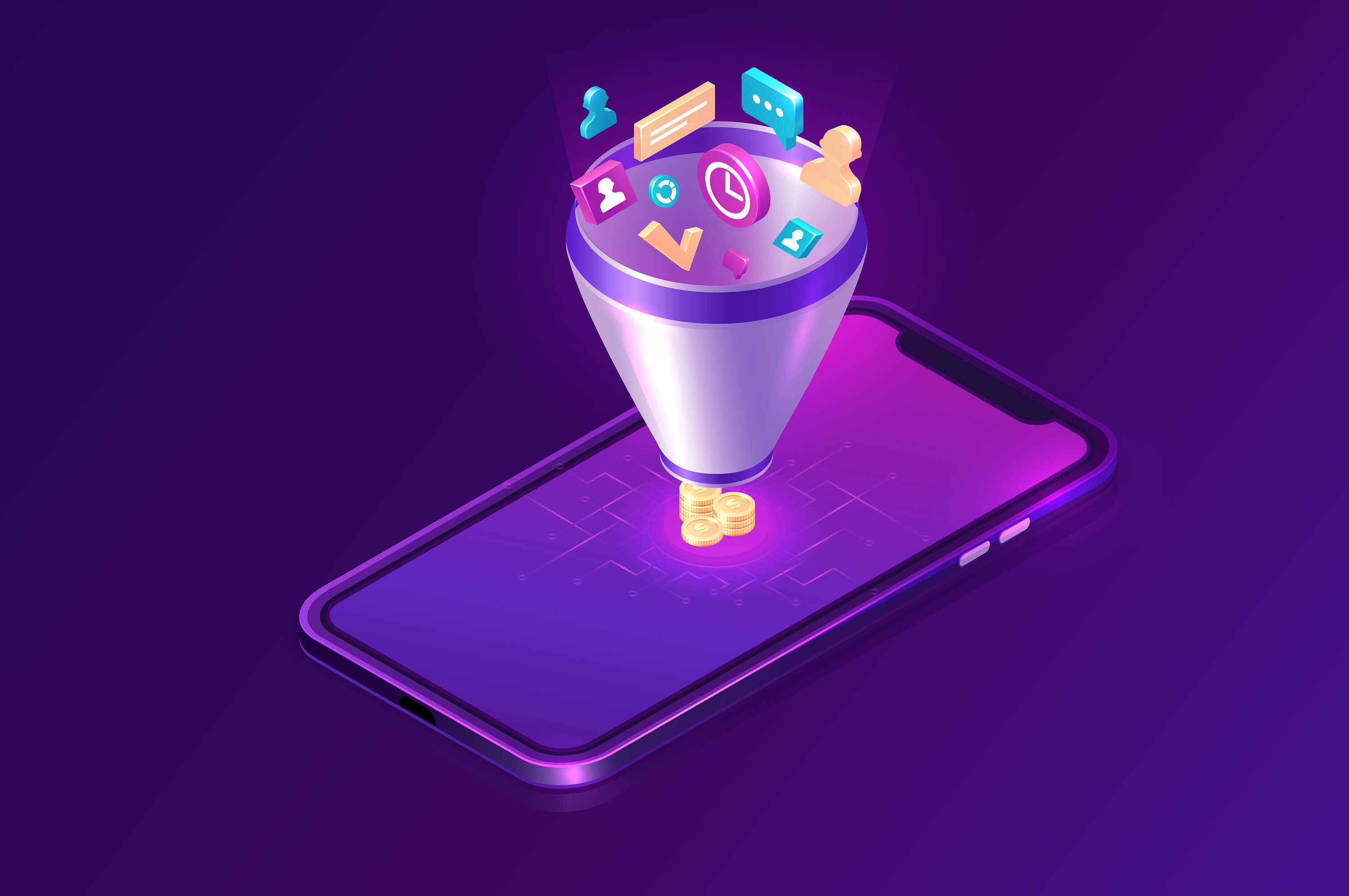 a smartphone on a violet background