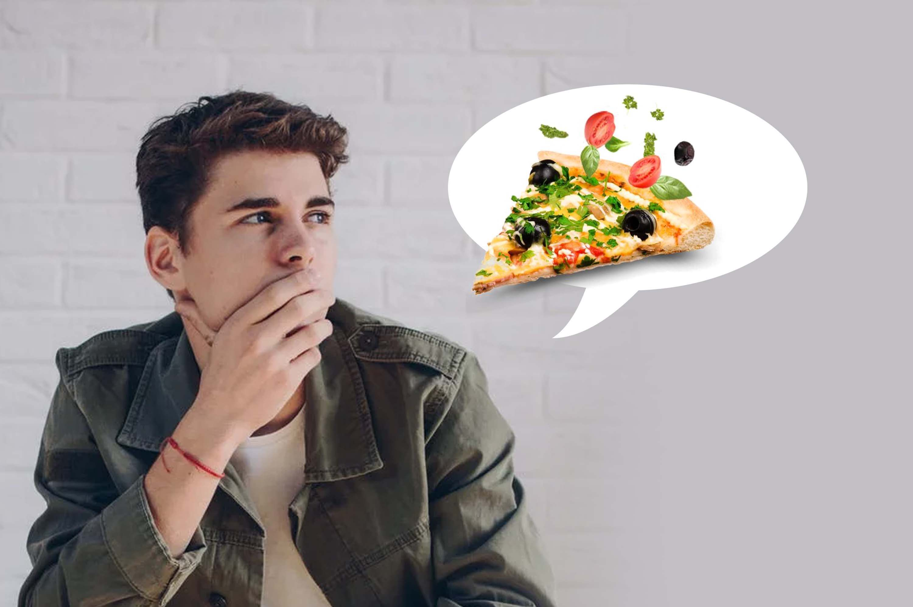 a man thinking about pizza