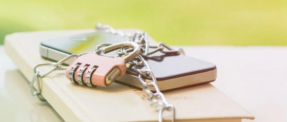a smartphone locked with a traditional chain lock