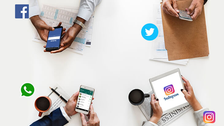 four persons opened different social media apps in their mobile