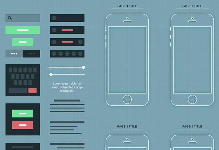 wireframe of a mobile app