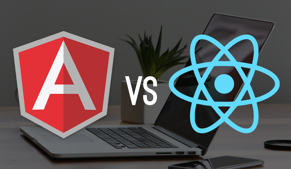 angular vs react logo on a laptop background