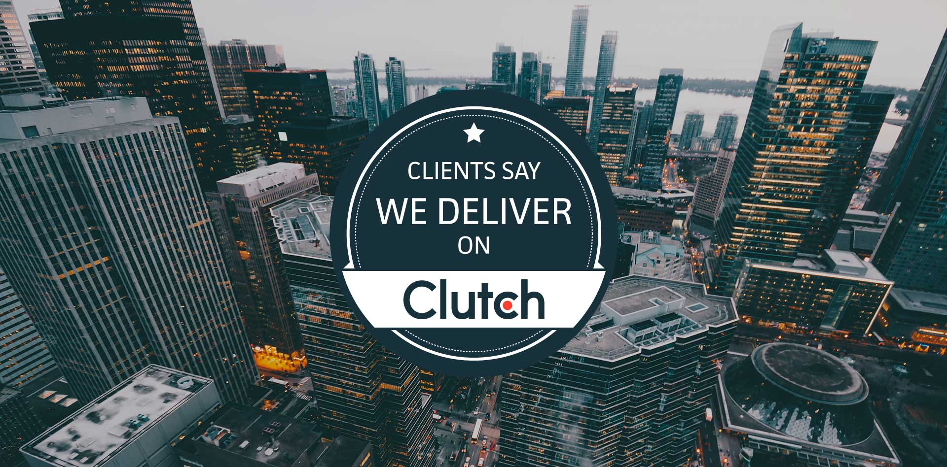 tall building background with clutch logo