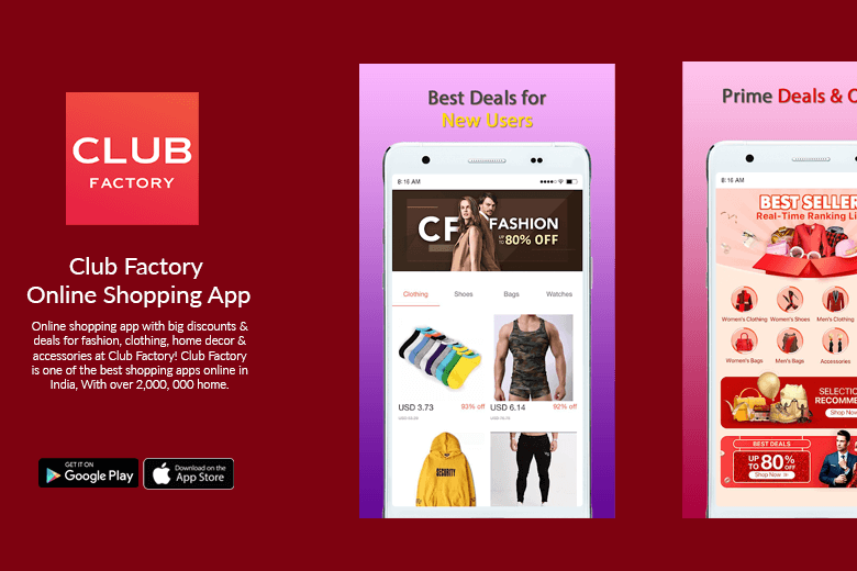 clubfactory mobile app screen