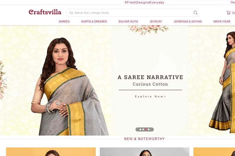 screenshot of craftsvilla website