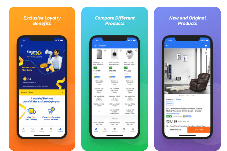flipkart mobile app screens