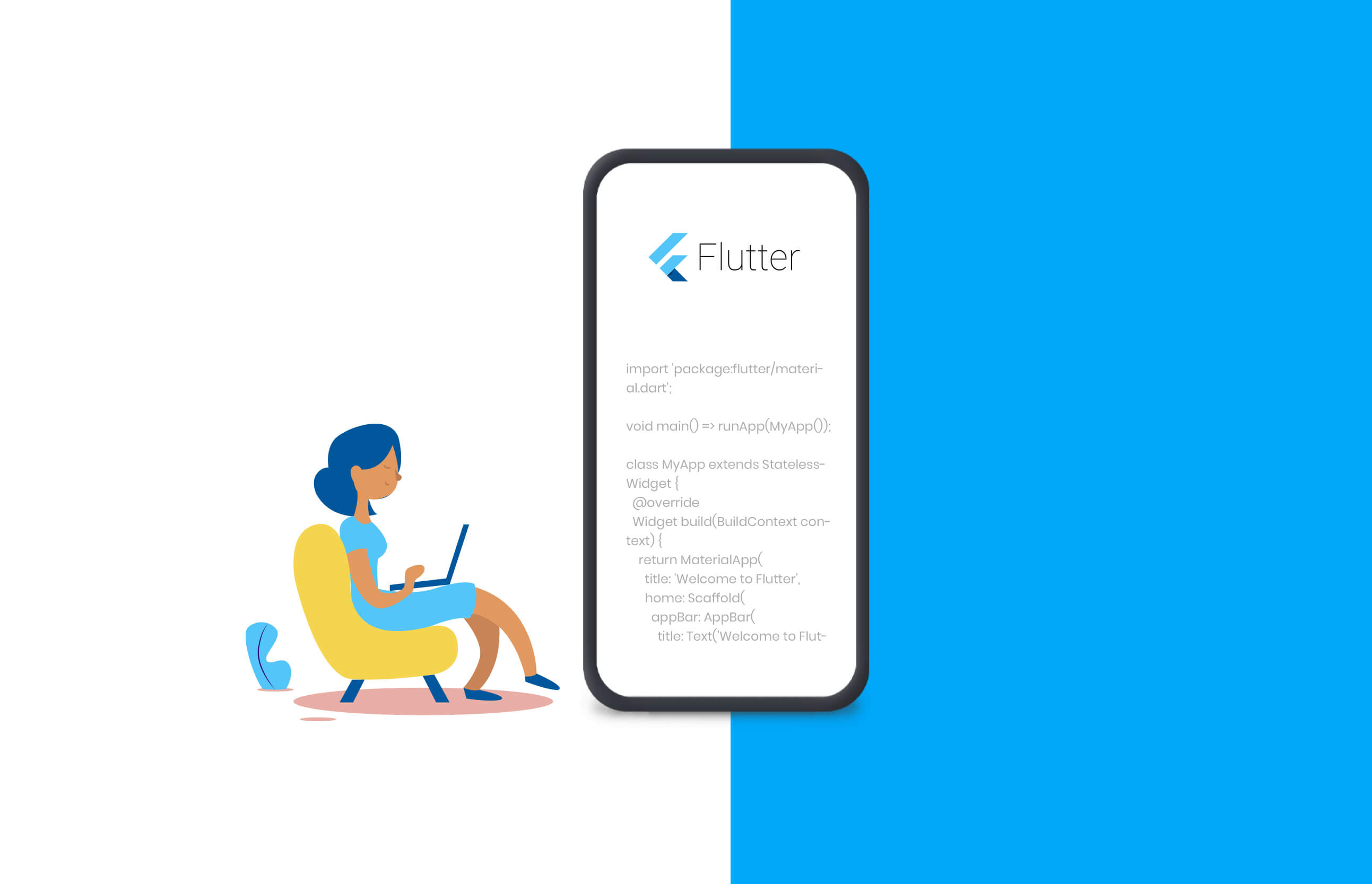 a lady open laptop and coding in flutter