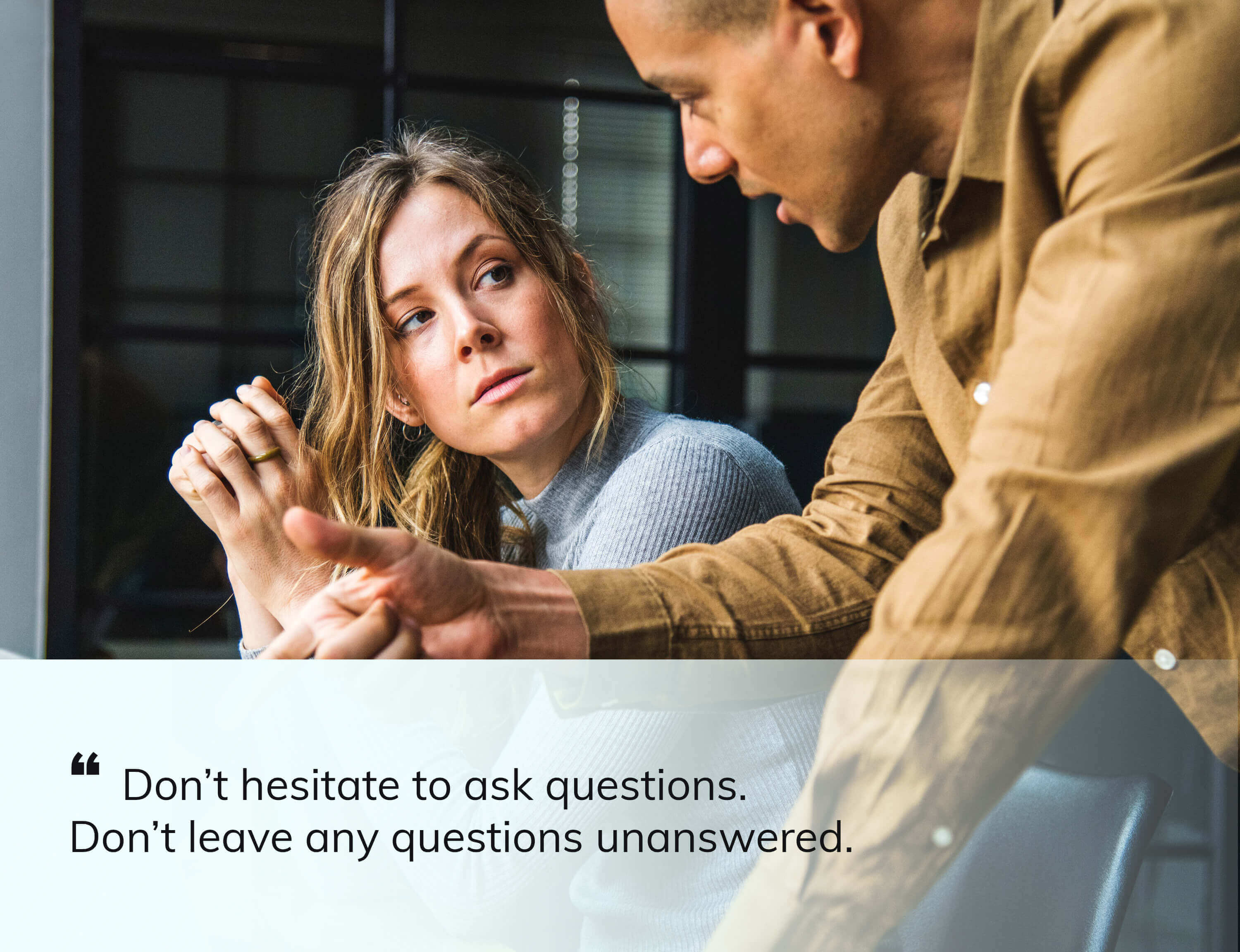a man asking question to a women