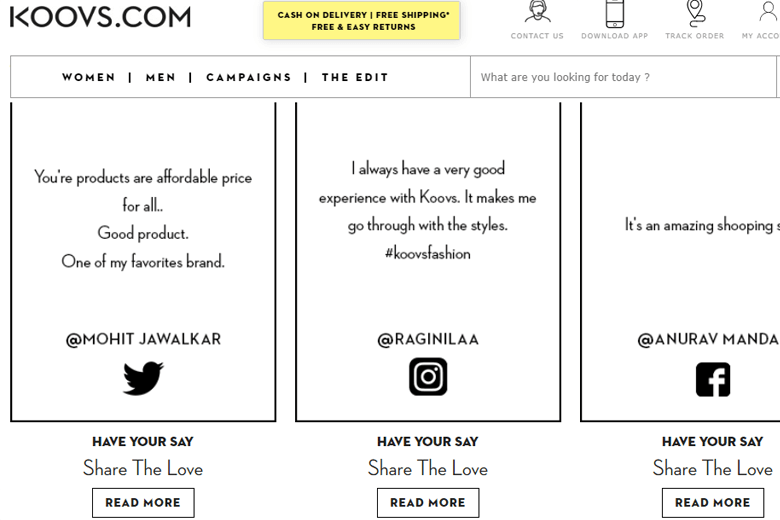 koovs website screenshot