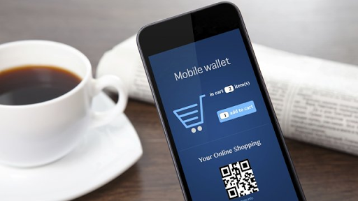 a smartphone with e wallet mobile app opened