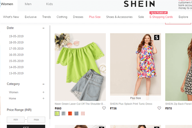 shein website screenshot