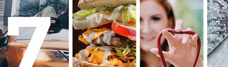 a collage image of a women, burger and a grocery store