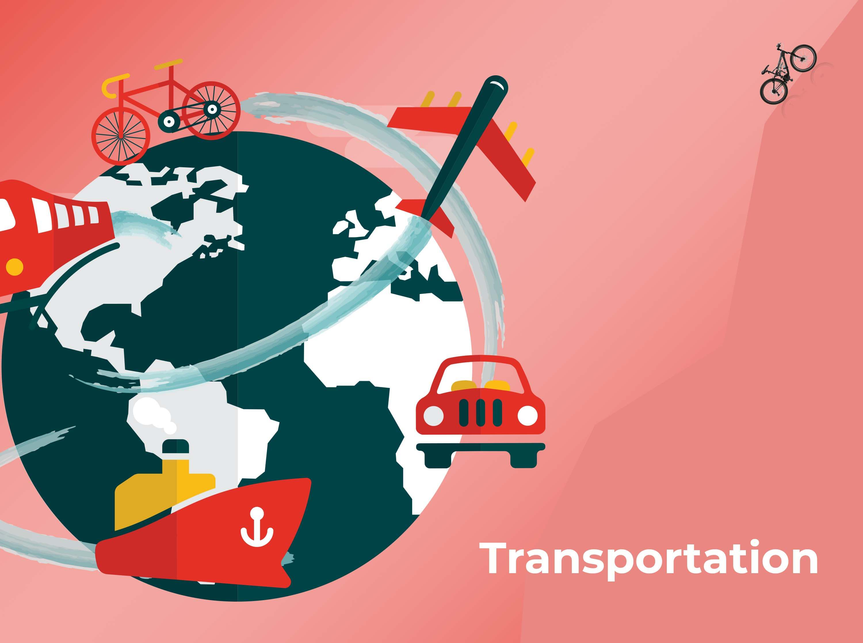 a sketch of globe and there is an aeroplane, bicycle, train, car and a ship on it