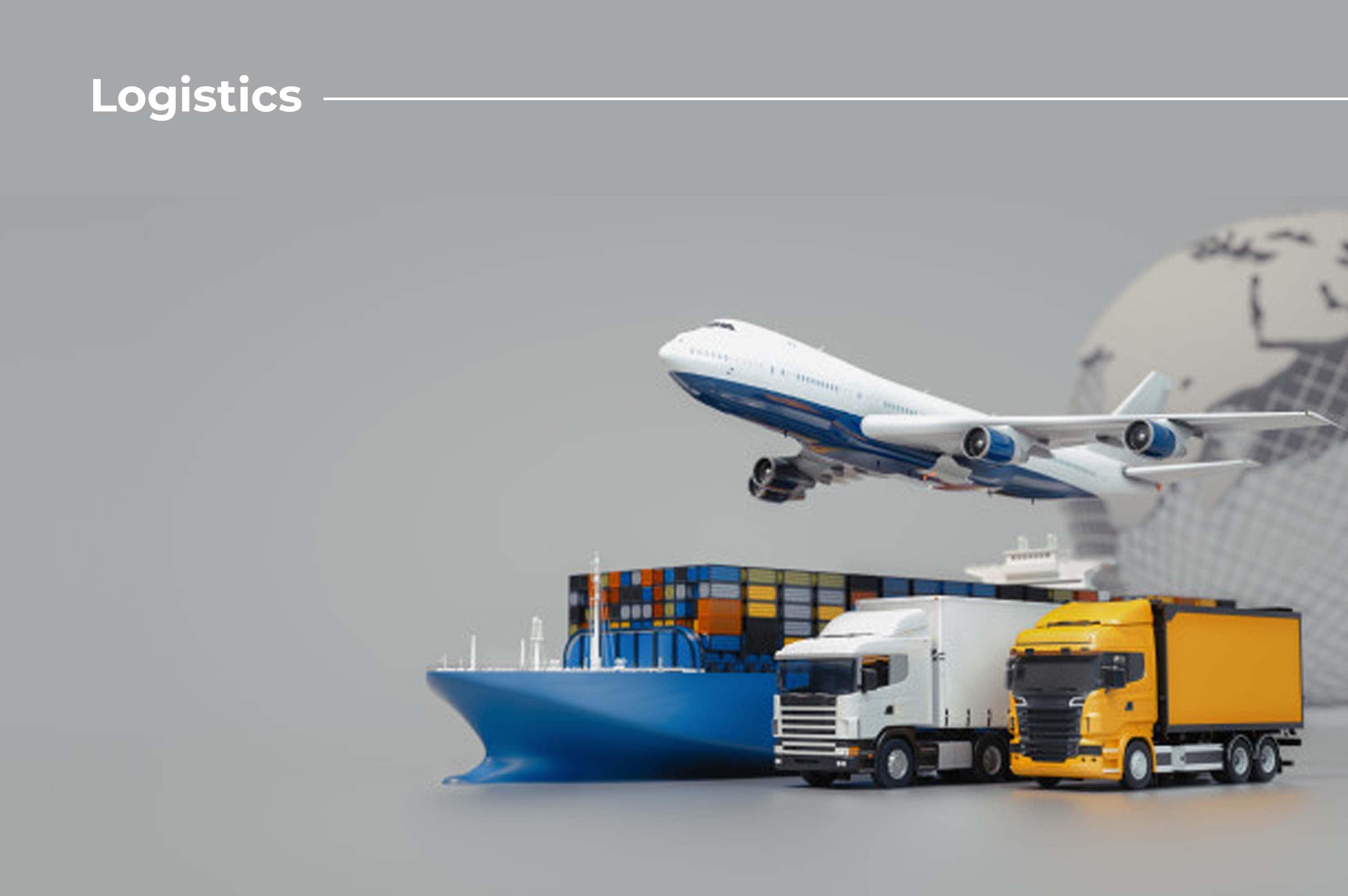 there is an aeroplane flying and also a blue ship flowing with containers and there are two trucks with containers