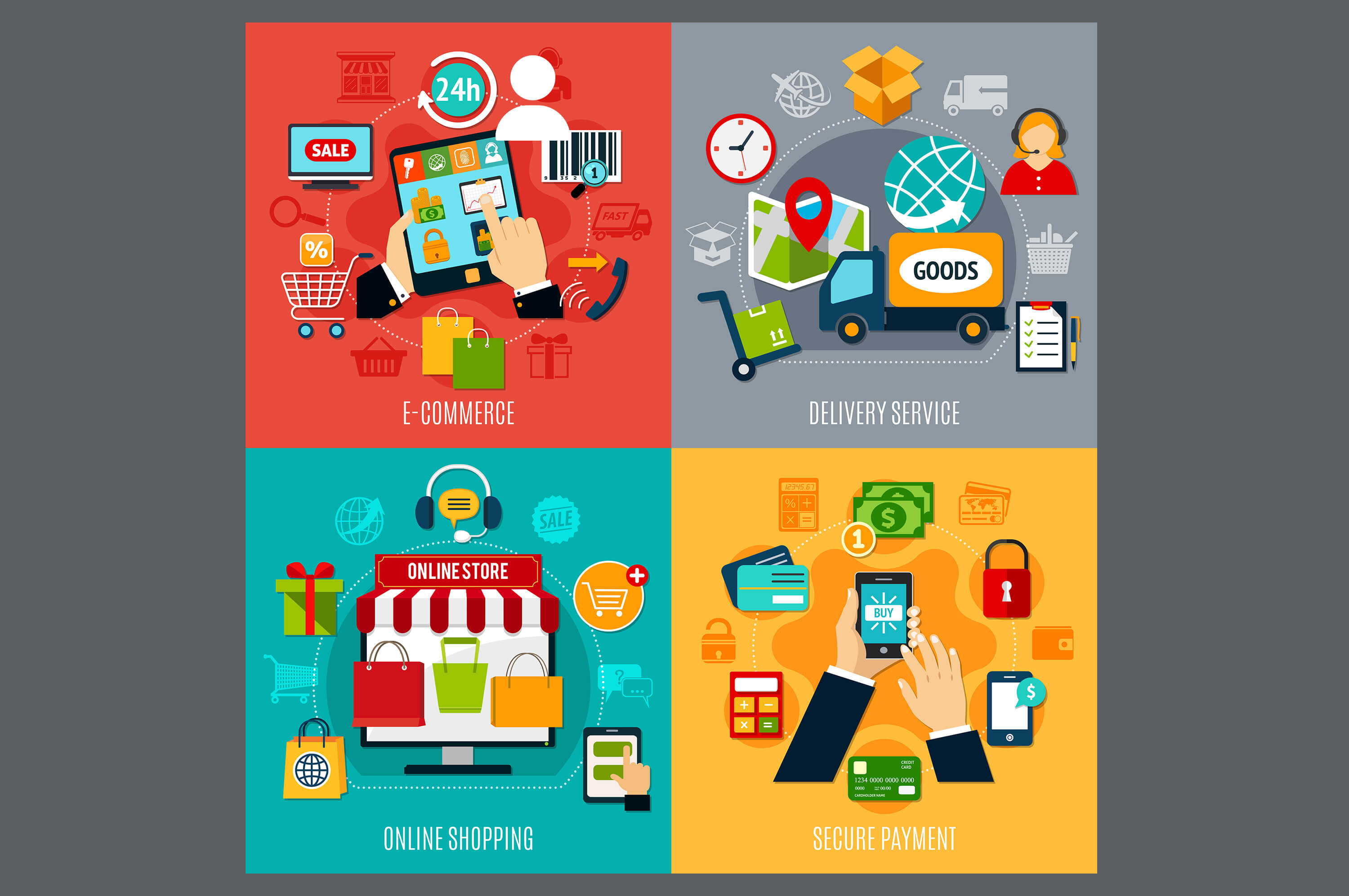 a collage of four images which describes e-commerce, delivery service, online shopping and secure payment