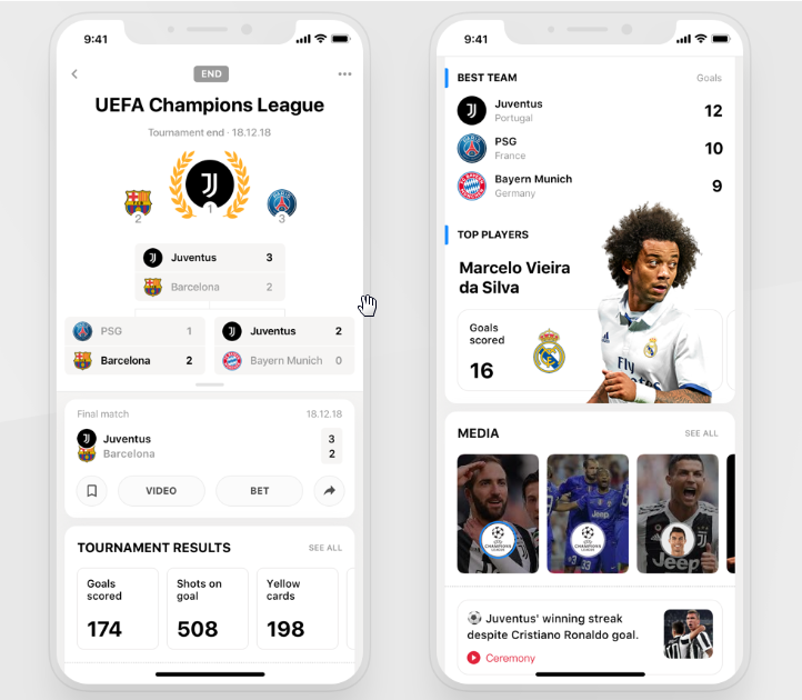 fantasy sports app screen