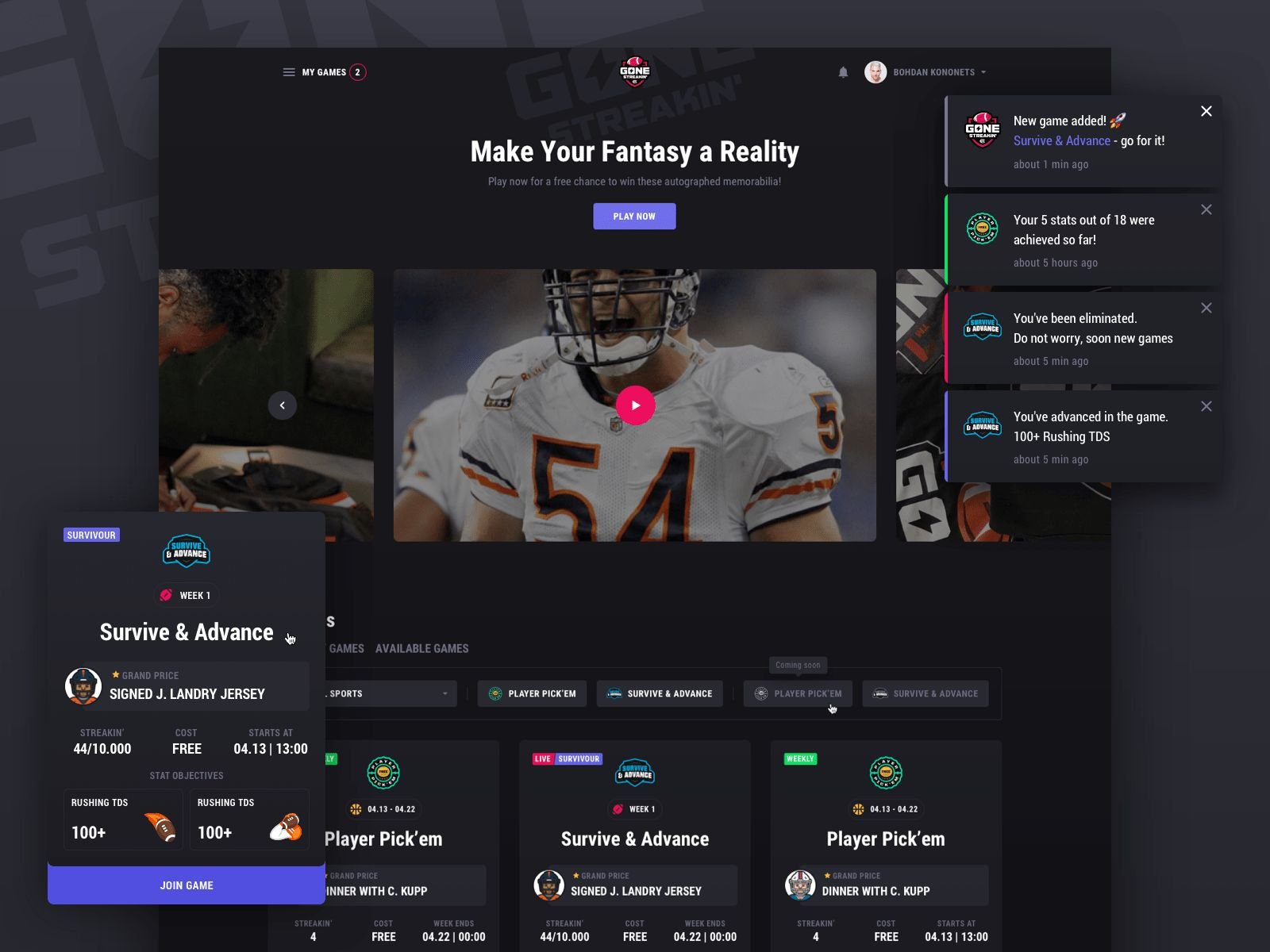 a fantasy sport website dashboard screen
