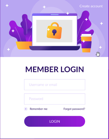a user log-in screen of mobile app