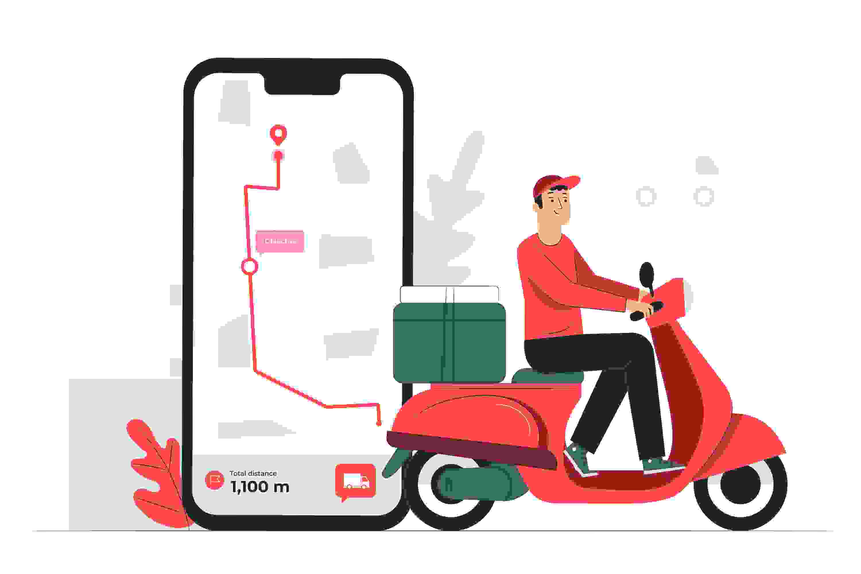 a delivery boy with his scooter