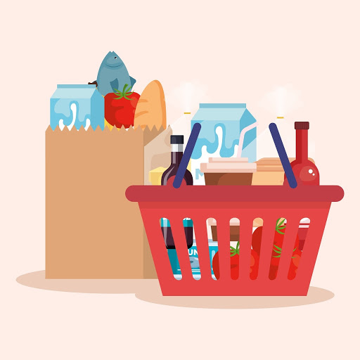 a paper bag and basket with grocery items