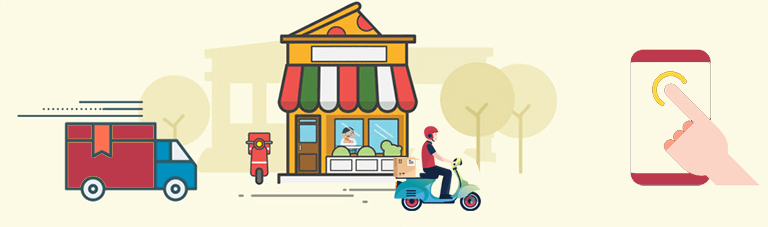 a delivery boy riding scooter near a shop