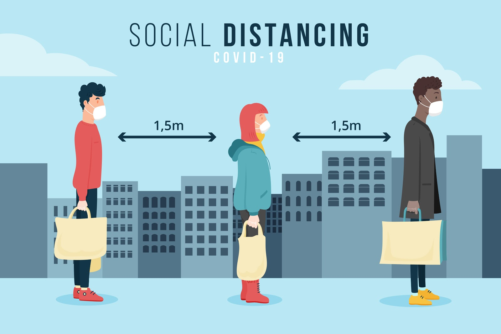 peoples standing in queue by following social distance