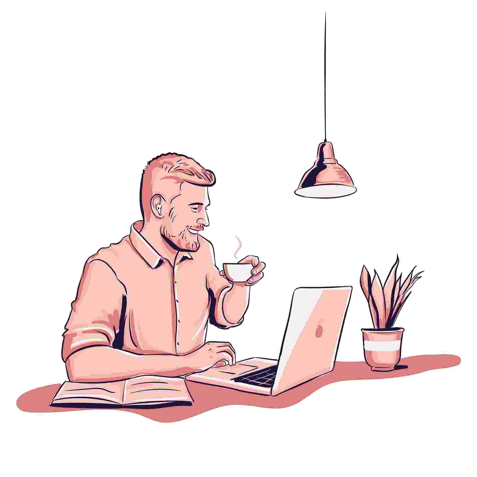 a freelancer working on laptop and drinking coffee