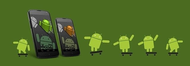two android smartphones and android icons